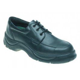Black leather wide grip safety shoe