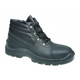 Black leather safety boot