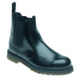 Black leather safety dealer boot