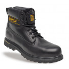 Holton black leather goodyear welted safety boot